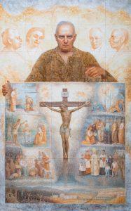 Autoritratto con presentazione del bozzetto della Redenzione ( sullo sfondo i genitori, il Prof. Varoli e la moglie che lo hanno aiutato spiritualmente) - 1990, Colori sotto vetrina su terraglia, 75 x 120 cm