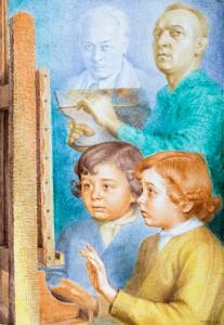 Anche i bimbi comprendono la mia arte - 1969, terracotta smaltata e dipinta - 41 x 58 cm, collezione Museo civico Luigi Varoli , Cotignola (Ra)
