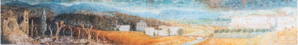 """La valle del Senio, particolare del pannello della Redenzione. A destra, illuminato dal sole, Riolo Terme, visto come la """"Gerusalemme Celeste""""."""